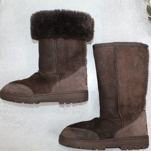 UGG Revival Ultra Tall Dark Brown Boots Size 7